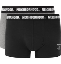 Neighborhood Two Pack Stretch Cotton Jersey Boxer Briefs Black
