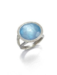 Ippolita Stella Swiss Blue Topaz Mother Of Pearl Diamond And Sterling Silver Medium Doublet Cocktail Ring Silver Blue Topaz