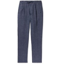 Lardini Tapered Pleated Pinstriped Linen Drawstring Trousers Blue