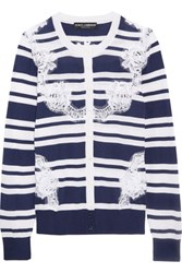 Dolce And Gabbana Lace Paneled Striped Silk Cardigan Blue
