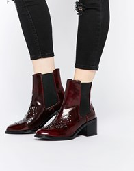 Mango Patent Stud Ankle Boot Burgundy