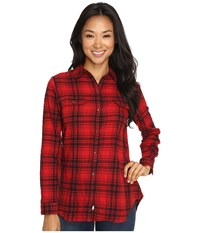 Woolrich Malila Peak Flannel Shirt Red Hunt Plaid Women's Long Sleeve Button Up