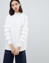 Amy Lynn High Neck Jumper With Sleeve Detail Cream