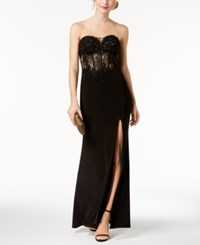 Betsy And Adam Embroidered Lace Bustier Gown Black
