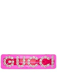Gucci Crystal Logo Hair Barrette Fuchsia