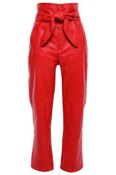 Marissa Webb Woman Belted Leather Straight Leg Pants Red