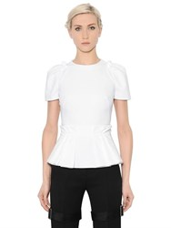 Alexander Mcqueen Pleated Peplum Cotton Pique Top