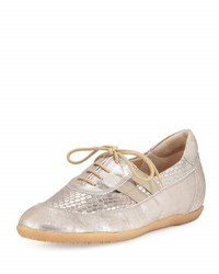 Sesto Meucci Halina Athleisure Metallic Leather Oxford Taupe