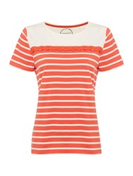 Dickins And Jones Stripe Broderie T Shirt Coral