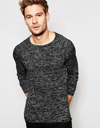 Blend Of America Blend Crew Jumper Slim Fit Fine Stripe Knit Raglan Raw Edge Black