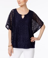 Jm Collection Lace Keyhole Poncho Only At Macy's Intrepid Blue