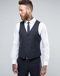 Harry Brown Slim Fit Waistcoat In Navy Check Navy