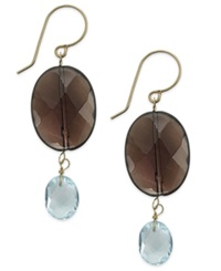 Macy's Smoky Quartz And Blue Topaz Oval Drop Earrings In 14K Gold 14 1 2 Ct. T.W.