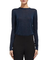 Whistles Sparkle Crewneck Sweater Blue