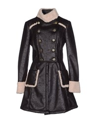 Elisabetta Franchi Gold Coats And Jackets Coats Women Dark Brown