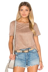 1.State Faux Suede Top Brown