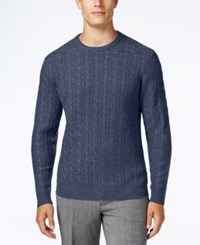 Club Room Men's Big And Tall Cable Knit Cashmere Sweater Only At Macy's Shark Eye Heather
