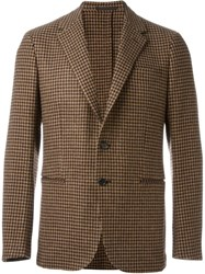 Caruso Houndstooth Blazer Nude And Neutrals