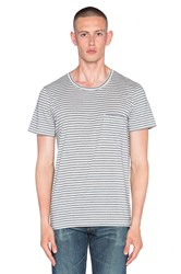 7 For All Mankind Feeder Stripe Tee Navy