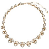 John Lewis Faux Pearl And Cubic Zirconia Cluster Collar Necklace Gold