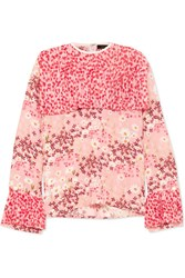 Mother Of Pearl Trinity Pleated Printed Silk Crepe Blouse Pink