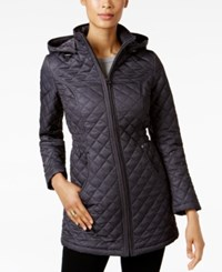 Laundry By Shelli Segal Faux Fur Lined Quilted Coat Pinch Black