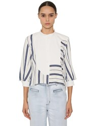 Loewe Striped Cotton And Linen Blend Shirt White Blue