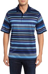 Bugatchi Men's Classic Fit Stripe Jersey Polo Navy