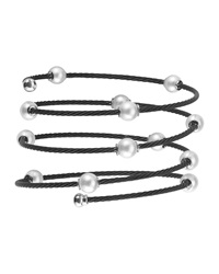 Alor Pearl Spiral Cable Wrap Bangle Black