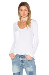 Bobi Light Weight Jersey Pocket Long Sleeve Top White