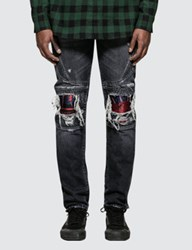 Marcelo Burlon Light Wash Skull Biker Jeans