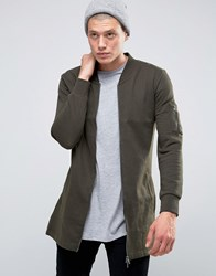 Brave Soul Longline Sweat Jacket Green