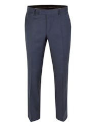 Racing Green Patterned Tailored Fit Suit Trousers Blue