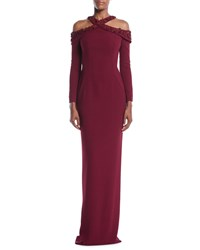 Pamella Roland Embroidered Neck Long Sleeve Stretch Crepe Evening Gown Wine