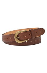 Women's Fossil Floral Embossed Leather Belt Brown