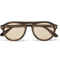 Tom Ford Private Collection Aviator Style Horn Sunglasses Brown