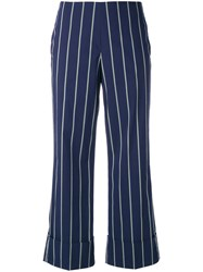Fay Pinstripe Trousers Blue