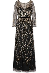Marchesa Notte Velvet Trimmed Embroidered Glittered Tulle Gown Black