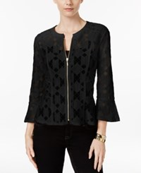 Inc International Concepts Lace Peplum Jacket Only At Macy's Deep Black