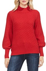 Vince Camuto Mix Cable Balloon Sleeve Cotton Blend Sweater Fireside