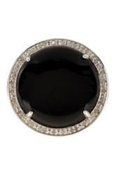 Savvy Cie White Diamond And Onyx Round Ring Black