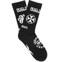 Vetements Reebok Logo Intarsia Stretch Cotton Blend Socks Black
