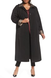 Gallery Plus Size Long Raincoat With Detachable Hood And Liner Black