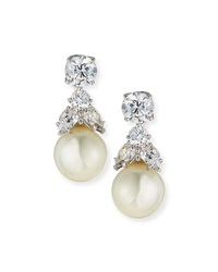 Cz Stud And Simulated Pearl Dangle Earrings Fantasia By Deserio
