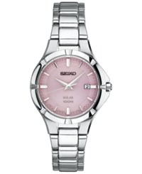 Seiko Women's Solar Dress Sport Stainless Steel Bracelet Watch 27Mm Sut315 Silver