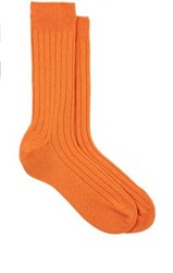 Barneys New York Men's Ribbed Cashmere Socks Orange