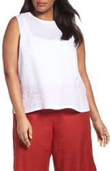 Eileen Fisher Plus Size Women's Organic Linen Shell White