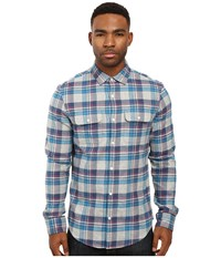 Original Penguin Long Sleeve Brushed Cotton Plaid Rain Heather Men's Long Sleeve Button Up Gray