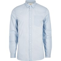 River Island Blue Stripe Long Sleeve Slim Fit Shirt
