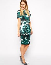 Warehouse Enlarged Floral Bonded Pencil Co Ord Skirt Green